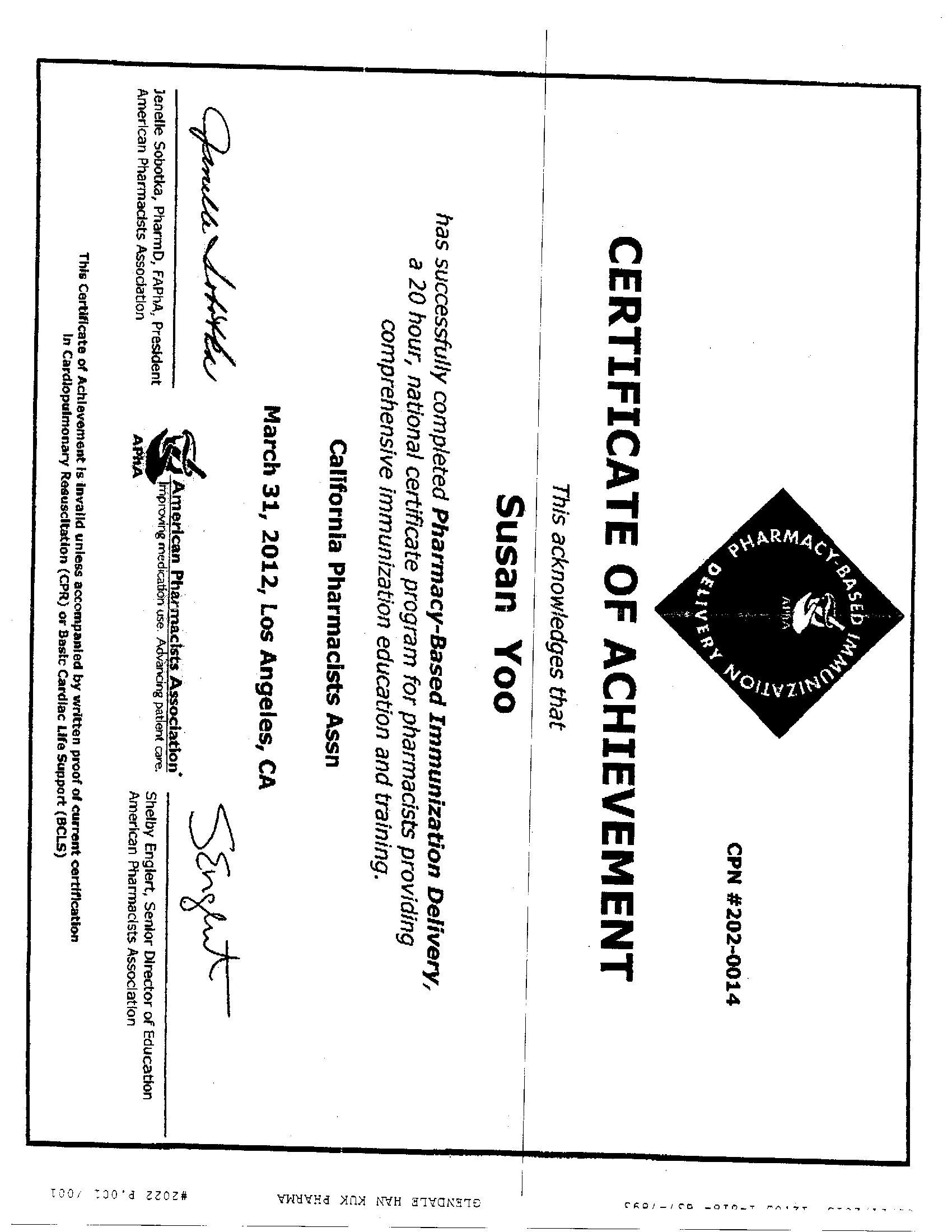 Travel Health Certificate Training Program